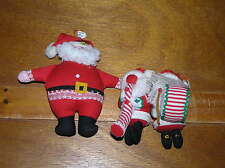 Estate Lot of 3 Handcrafted in the Phillipines Red Fabric Music Playing SANTA
