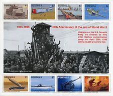 Dominique 1995 neuf sans charnière wwii ve day 50th fin seconde guerre mondiale 8v m/s tanks avions timbres