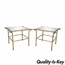 Pair Vintage Italian Hollywood Regency Faux Bamboo Gold Gilt Mirror Side Tables