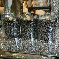 DIAMOND CRUSHED BLACK CRYSTAL FILLED TEA COFFEE SUGAR CANISTERS JARS STORAGE UK
