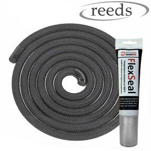 12mm Black Stove Door Seal Rope Optional Premium Glue 76ml, Heat Resistant Rope