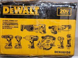 NEW DEWALT 20V MAX Cordless Drill Combo Kit , 8-Tool (DCK881D2)