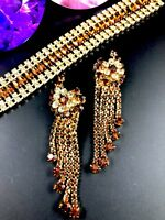 SENSATIONAL JULIANA D&E TOPAZ CITRINE RHINESTONE BRACELET 5 DANGLE EARRINGS SET