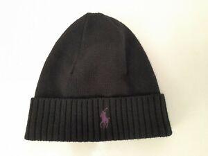 Polo Ralph Lauren 100%Wool Signature Pony Hat Beanie. Black