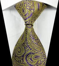 New Classic Paisleys Yellow Purple JACQUARD WOVEN 100% Silk Men's Tie Necktie