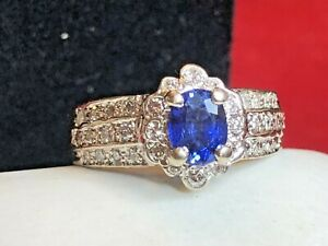 VINTAGE 18K  WHITE  GOLD BLUE SAPPHIRE DIAMOND RING ENGAGEMENT SIGNED APPRAISAL
