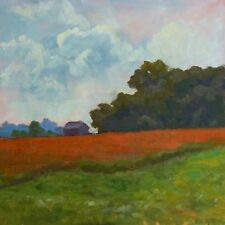 Original Art 12 x 12 Square Oil Painting Farm Landscape Impressionism Sallows
