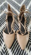 KENDALL + KYLIE Beige Nude Brown Strappy Sandals Flats Pointy Toe Leather Size 7