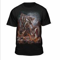 Grim Reaper Goth Biker Rock Flames Skull Motorcycle T-Shirt Black