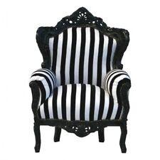Barock Thron Sessel schwarz weiß gestreift Design Möbel