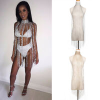 Women Sexy Sequins Crystal Body Chain Tassel Choker Necklace Dress Evening Party