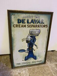 Tin Sign De Laval Cream Separator RARE 1930's Delaval Embossed / Self Framed USA