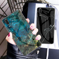 For Huawei P20 Pro, Slim Hybird Marble Tempered Glass Soft Frame Skin Case Cover
