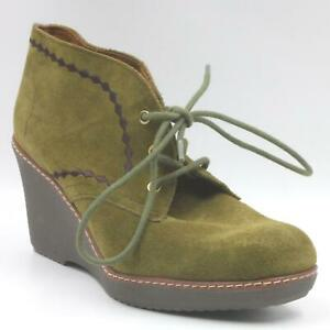 Naturalizer Women Ankle Booties Kaitlyn US 8M Classic Olive Nova Suede