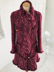 EDWARD ACHOUR PARIS designer pink & wine tweed type coat size 36