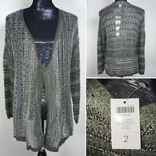 Chicos Metallic Drape Kyler Cardigan Sweater Fashion Fatigue Size 2