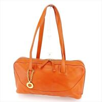 Bvlgari Boston bag Orange leather Woman unisex Authentic Used L2598