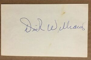 DICK WILLIAMS BOSTON RED SOX AUTOGRAPHED SIGNED AUTO INDEX CARD / 1 Owner