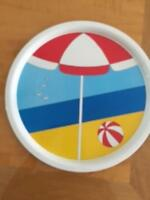 Vintage FARHANA for FAROY Round 12'' Diameter Serving Tray Beach Scene 1980s