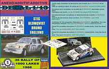 ANEXO DECAL 1/43 PEUGEOT 205 TURBO 16 E2 S.BLOMQVIST 1000 LAKES 1986 (02)