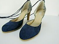 Seychelles Heritage Blue Suede Ankle Ties Heels 8.5