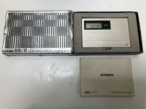 CASIO ML-8 ELECTRONIC CALCULATOR & WATCH MUSICAL BOXED **VINTAGE**