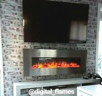 50 60 INCH LUXURY LED DIGITAL FLAMES STAINLESS STEEL WALL MOUNTED ELECTRIC FIRE