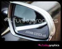 BMW X4 M20d LOGO SYMBOL MIRROR DECALS STICKERS GRAPHICS x3 IN SILVER ETCH VINYL