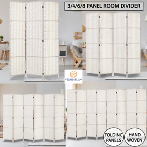 Room Divider 3,4,6,8 Panels Screen Privacy Rattan Timber Fold Woven Stand White