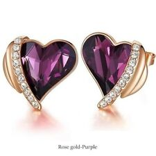 Womens Rose Gold Tone Amethyst Love Heart Stud Earrings Anniversary Day Gifts