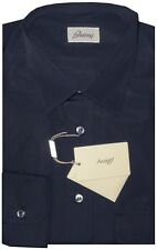 $795 NWT BRIONI NAVY BLUE HAND MADE SLIM FIT COTTON DRESS SHIRT IV L 42 16.5