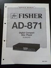 Original Service Manual Fisher Digital Compact Disc Player AD-871