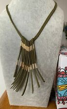 Plunder Design Fashion Trendy Cordelia Jewelry Green LeatherCord Fringe Necklace