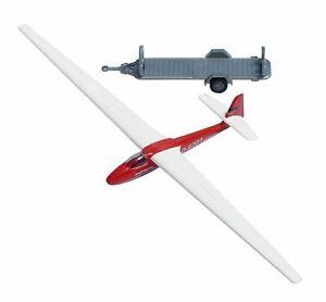 Busch 1154 Glider with Trailer, Red, H0 Finshed Model 1:87