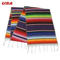 USA Stock Mexican Serape Table Runner Home Party Decor Fringe Cotton Tablecloth