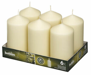 Bolsius Pack of 6 Ivory Pillar Church Candle 148mm x 78mm