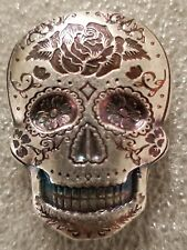 2 oz .999 Silver hand poured Skull art bar memento mori day of the dead Rose