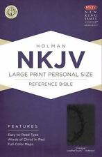 NKJV Large Print Personal Size Reference Bible, Charcoal LeatherTouch Indexed...