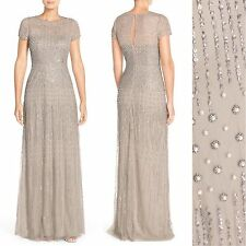 NWT$369 Adrianna Papell Embellished Mesh Gown Pearls [SZ 2 4P 6 10 12 16 ]#N378