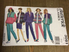 Vintage Sewing - BUTTERICK 3081 - JACKET PANTS VEST PATTERN XS-S-M 1990s Style