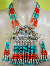 Ethnic Sterling Silver Necklace Handmade Turquoise Tibetan Tribal Jewelry PPL2