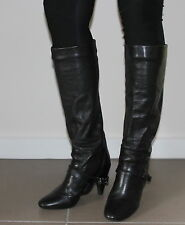 Fornarina black chains heeled boots women Eur 37 US-Aus 6.5 UK 4.5 from Italy