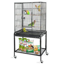 """53"""" Rolling Bird Cage Large Wrought Iron Cage Medium Pet House Removable Tray"""