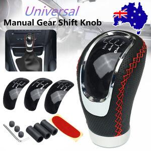 5 6 Speed Car Manual Gear Shift Knob Shifter Lever Red Stitch PU Leather + 3 Cap
