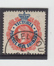 Stamp 5/- blue & red sideface Victoria cancelled to order, MUH original gum