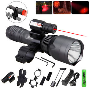 Tactical Flashlight Torch Hunting Light Gun Rifle Mount Laser Sight Scope Combo