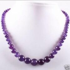6-14mm Lovely Amethyst Round Beads Gemstone Necklace 18""