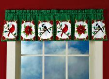 "Christmas Winter Decor Window Curtain Valance Cardinal Poinsettia Design 71""x14"""