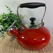 Chantal Candy Apple Red Whistling Tea Kettle Retro Vintage Style Stainless Steel