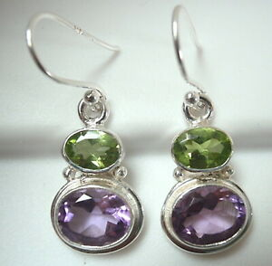 Faceted Peridot and Amethyst Double Gem 925 Sterling Silver Dangle Earrings